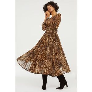 H&M Leopard Print Pleated Dress